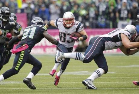 Wes Welker charged into the Seahawks defense in the second half.